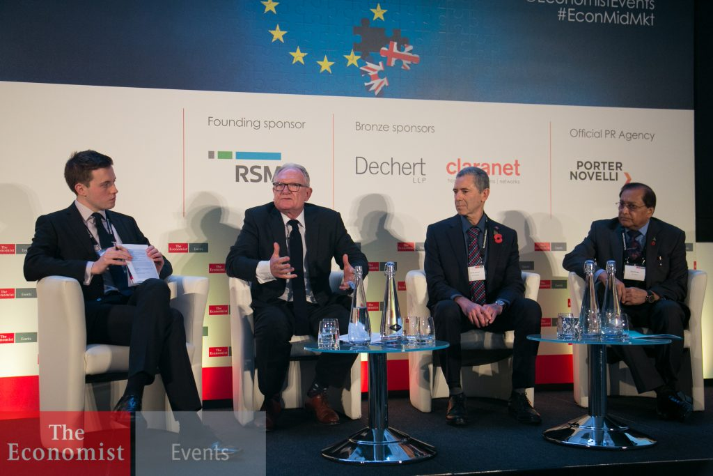 L-R: Callum Williams, Britain Economics Correspondent at The Economist; Graham Cartledge, CBE, Chairman, Benoy; Mottie Kessler, Chairman and Chief Executive Officer, 2M Holdings; Rami Ranger, CBE, Chairman, SunMark