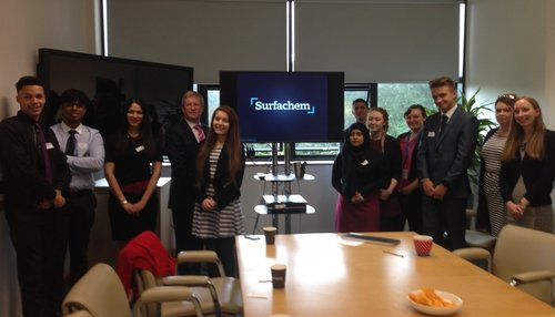 Surfachem staff with students in Surfachem's Innovation Centre after an employment talk