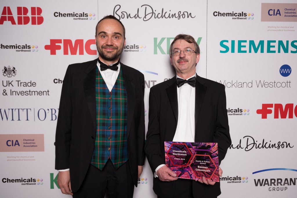 Stephen James, MD of Witt Obrien's Ltd, the sponsors of the Health & Safety Award and David Dalton, Group Compliance Director for Banner Chemicals and its parent company, 2M Holdings Ltd