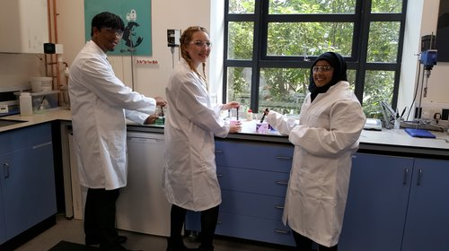 Students from the EY Foundation formulating their own shower gel in the Surfachem Innovation Lab